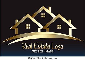 財産, ロゴ, 家, 実質