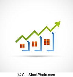 財産, 販売, 成長する, logo., 実質, chart., 財政