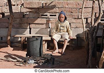 貧しい, アフリカ, 子供
