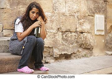 貧しい, 女の子, ホームレスである