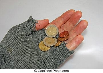 貧しい, 尋ねる, euros, 手, 少数, 人, 慈善