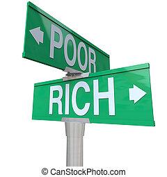 貧しい, 方法, ∥対∥, 2, 通り, 窮乏, 豊富, サイン, 道, 富