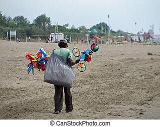 貧しい, 通り 売り手, 上に, ∥, 海岸, の, ∥, 浜, 中に, 夏, によって, ∥, 海