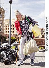 貧しい, cheerless, 人, 保有物, 袋