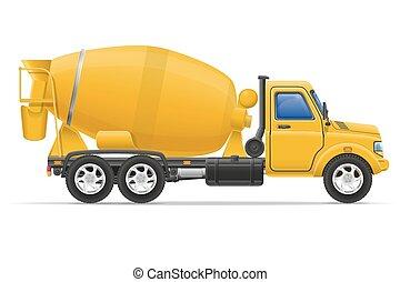 貨物卡車, 具体的混合器, 矢量, 插圖