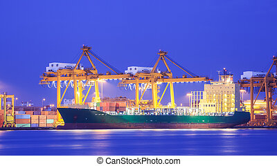 貨物容器, 概念, 港口, 出口, 後勤, 進口, 船, 起重機, 運輸