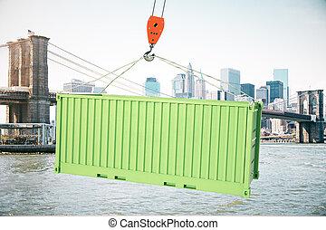 貨物容器, 綠色, 鉤