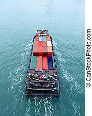 貨物船, から, 上