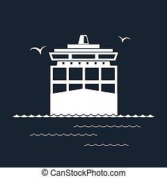 貨物船, 容器, 隔離された, 黒