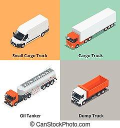 貨物, すき, セット, 廃棄物処理場, アイコン, 自動車, ミキサー, 雪, icons., コンクリート, オイルのトラック, 小さい, トラック, icon., truck., タンカー, isometric., 3d