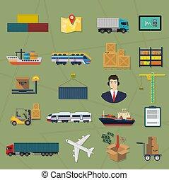 貨物, サービス, イラスト, 出産, ベクトル, icons., ロジスティックである