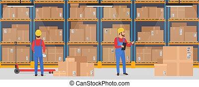貨物, サービス, 仕事, 人々。, 出産, 倉庫, ベクトル, ロジスティックである, 内部, 旗, concept.