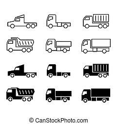 貨物, シルエット, dumpers, icons., トラック, 出荷, バン, 線, trukcs