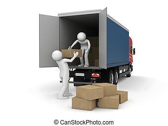 貨物, ビジネス, -, コレクション, ローダー, 箱