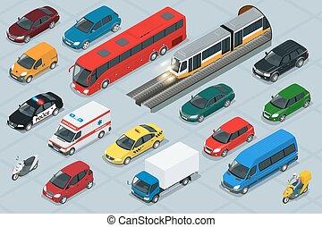 貨物, モーターバイク, アイコン, 都市, 平ら, 公共の輸送, オフロード, トラック, 自動車, 等大, 貨物, 都市, バン, 品質, セット, transport., 自動車, set., スクーター, icons., 高く, 3d, riders., バス