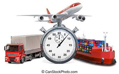 貨物, レンダリング, concept., 速い配達, ship., クロノメーター, トラック, 飛行機, 3d