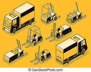 貨物, ローディング, セット, トラック, 線, 機械