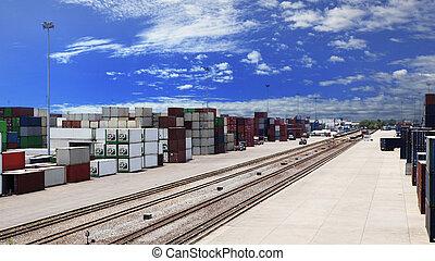 貨物, 使用, 土地, 容器, ビジネス, 輸送, 方法, 柵, ドック, エクスポート, ロジスティックである, 貨物