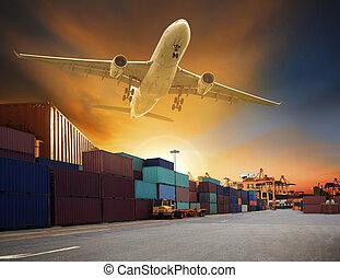貨物, 使用, 容器, 貨物, ビジネス, 産業, 飛行, ドック, 飛行機, ロジスティックである, 交通機関, 船, 港, の上