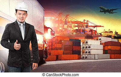 貨物, 使用, comercial, サービス, ビジネス, 産業, 出荷, 空気, 容器, ロジスティックである, 輸入, 船, 港, 人