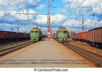 貨物, 列車, 渡ること, 駅