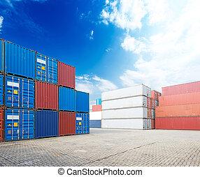 貨物, 堆, 容器, 船塢
