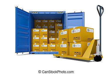 貨物 容器, ∥で∥, 箱, そして, パレット, ワゴン