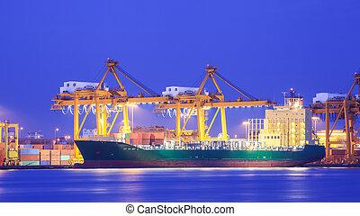 貨物 容器, 概念, 港, エクスポート, ロジスティックである, 輸入, 船, クレーン, 輸送