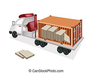貨物 容器, 箱, 背景, 白, ボール紙