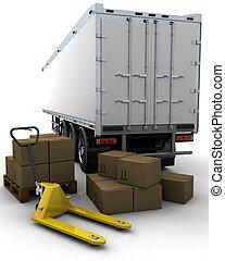 貨物, 拖車, 以及, 發貨, 箱子