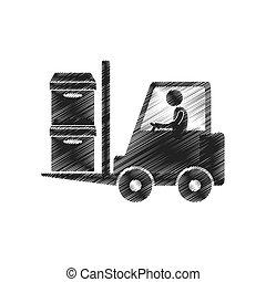 貨物, 数字, pictogram, フォークリフト, 労働者, 箱, 図画