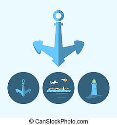 貨物, 灯台, セット, 容器, 錨, 船, アイコン