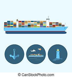 貨物, 灯台, セット, 容器, 錨, 船