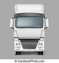 貨物, 現実的, ベクトル, トラック, 前部, 3d, 光景