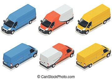 貨物, 等大, バン, 平ら, コマーシャル, 隔離された, イラスト, バックグラウンド。, 乗り物, ベクトル, 車, トラック, 白, 3d