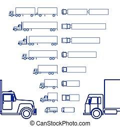 貨物, 線, セット, トラック, アイコン