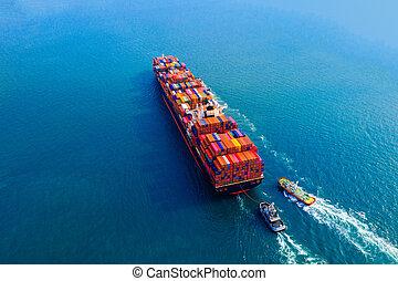 貨物, 航空写真, 容器, 光景, 船, sea.