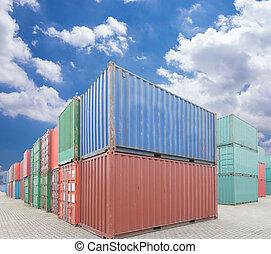 貨物, 船塢, 容器, 堆