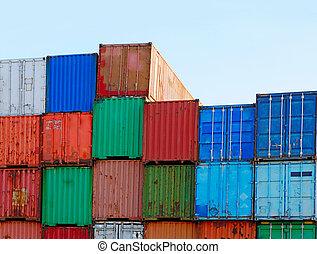 貨物, 船塢, 發貨, 准備好, 堆, 容器