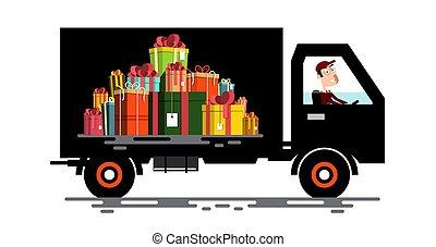 貨物, 贈り物, 自動車, 運転手, 箱, ベクトル, vehicle., pile.