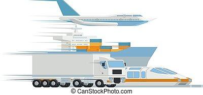 貨物, 輸送, 貨物, ロジスティクス, 卸売り業者, 芸術