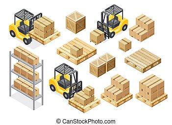 貨物, 配達トラック, 装置, warehouse., ベクトル, イラスト, フォークリフト, 等大, illustration.