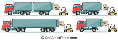 貨物, 長い間, ベクトル, トラック, イラスト, 行く, 倉庫