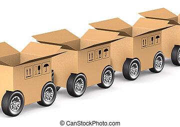 貨物, 開いているボックス, イラスト, 車輪, 隔離された, 3d, 白, バックグラウンド。