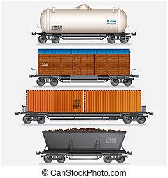 貨物, cars., コレクション, 列車, ワゴン, タンク