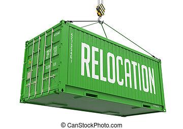 貨物, container., 再配置, -, 緑, 掛かること