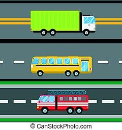 貨物, illustration., 火, 自動車, seamless, 出産, ベクトル, トラック, ロジスティックである, バス, パターン, 漫画, 輸送