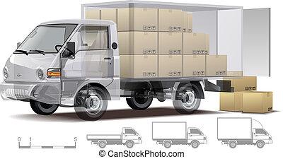 貨物, infographics, トラック, cutaway
