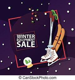 販売, スポーツ, 冬, 冬季, 装置, クリスマス, 買い物, 買い物, 提供, 大きい, イラスト, 贈り物,...