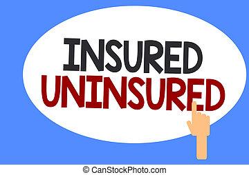販売, ビジネス, 写真, 提示, uninsured., 執筆, 保険を掛けられた, 選びなさい, 手, チェックリスト, showcasing, 概念, 会社, 保険